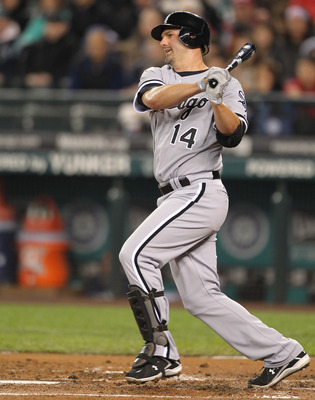 SEATTLE - MAY 06:  Paul Konerko #14 of the Chicago White Sox bats against the Seattle Mariners at Safeco Field on May 6, 2011 in Seattle, Washington. The Mariners won 3-2. (Photo by Otto Greule Jr/Getty Images)