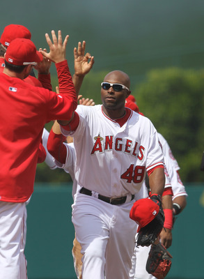 ANAHEIM, CA - MAY 22:  Torii Hunter #48 of the Los Angeles Angels of Anaheim celebrates with teammates after the game with the Atlanta Braves on May 22, 2011 at Angel Stadium in Anaheim, California.   The Angels won 4-1.  (Photo by Stephen Dunn/Getty Imag