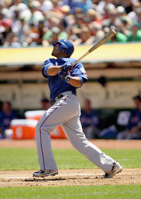 OAKLAND, CA - APRIL 30:  Nelson Cruz #17 of the Texas Rangers in action during their game against the Oakland Athletics at Oakland-Alameda County Coliseum on April 30, 2011 in Oakland, California.  (Photo by Ezra Shaw/Getty Images)