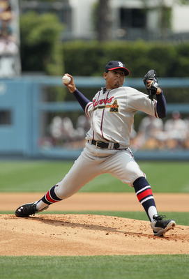 LOS ANGELES, CA - APRIL 21:  Jair Jurrjens #49 of the Atlanta Braves pitches against the Los Angeles Dodgers at Dodger Stadium on April 21, 2011 in Los Angeles, California.  (Photo by Jeff Gross/Getty Images)