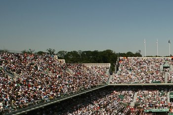 PARIS - JUNE 10:  A general view of Court Philippe Chatrier taken during the Women's Final between Svetlana Kuznetsova of Russia and Justine Henin-Hardenne of Belgium during day fourteen of the French Open at Roland Garros on June 10, 2006 in Paris, Franc