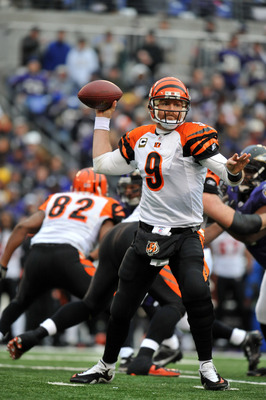 BALTIMORE, MD - JANUARY 2:  Carson Palmer #9 of the Cincinnati Bengals passes against the Baltimore Ravens at M&T Bank Stadium on January 2, 2011 in Baltimore, Maryland. The Ravens lead the Bengals 6-0 at the half. (Photo by Larry French/Getty Images)
