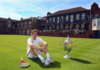 LONDON, ENGLAND - APRIL 06:  Andy Murray of Great Britain poses at the Queens Club on the day that he announced his participation in the pre Wimbledon AEGON Championships, on April 6, 2011 in London, England.  The event begins on June 6, 2011 and runs unt