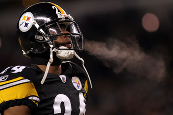 PITTSBURGH, PA - JANUARY 23:  Ike Taylor #24 of the Pittsburgh Steelers looks on against the New York Jets during the 2011 AFC Championship game at Heinz Field on January 23, 2011 in Pittsburgh, Pennsylvania. The Steelers won 24-19. (Photo by Nick Laham/G
