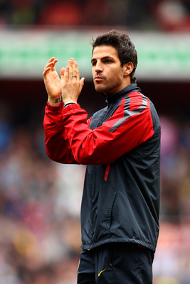 LONDON, ENGLAND - MAY 15:  Cesc Fabregas of Arsenal applauds the fans during a lap of honour after the Barclays Premier League match between Arsenal and Aston Villa at the Emirates Stadium on May 15, 2011 in London, England.  (Photo by Richard Heathcote/G