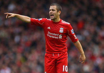 LIVERPOOL, ENGLAND - OCTOBER 03:  Joe Cole of Liverpool during the Barclays Premier League match between Liverpool and Blackpool at Anfield on October 3, 2010 in Liverpool, England.  (Photo by Alex Livesey/Getty Images)
