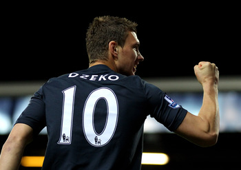BLACKBURN, ENGLAND - APRIL 25:  Edin Dzeko of Manchester City celebrates scoring the opening goal during the Barclays Premier League match between Blackburn Rovers and Manchester City at Ewood Park on April 25, 2011 in Blackburn, England.  (Photo by Alex