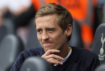 LONDON, UNITED KINGDOM - MAY 07:  Peter Crouch of Spurs looks on from the bench during the Barclays Premier League match between Tottenham Hotspur and Blackpool at White Hart Lane on May 7, 2011 in London, England.  (Photo by Scott Heavey/Getty Images)