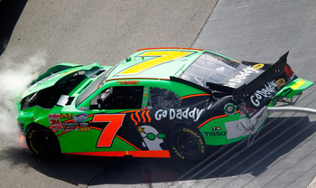 BRISTOL, TN - MARCH 19:  Danica Patrick, driver of the #7 GoDaddy.com Chevrolet, spins out down the track after an incident in the NASCAR Nationwide Series Scotts EZ Seed 300 at Bristol Motor Speedway on March 19, 2011 in Bristol, Tennessee.  (Photo by Ge