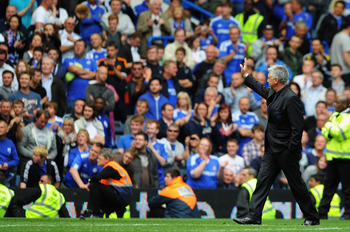 LONDON, ENGLAND - MAY 15:  Carlo Ancelotti the Chelsea manager acknowledges the home fans following the Barclays Premier League match between Chelsea and Newcastle United at Stamford Bridge on May 15, 2011 in London, England.  (Photo by Michael Regan/Gett
