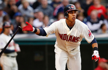CLEVELAND - APRIL 30:  Michael Brantley #23 of the Cleveland Indians hits a solo home run against the Detroit Tigers during the game on April 30, 2011 at Progressive Field in Cleveland, Ohio.  (Photo by Jared Wickerham/Getty Images)