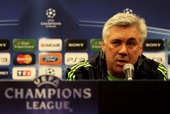 MARSEILLE, FRANCE - DECEMBER 07:  Carlo Ancelotti the Chelsea manger speaks to the media during the Chelsea press conference ahead of their UEFA Champions League Group F match against Marseille at the Stade Velodrome on December 7, 2010 in Marseille, Fran
