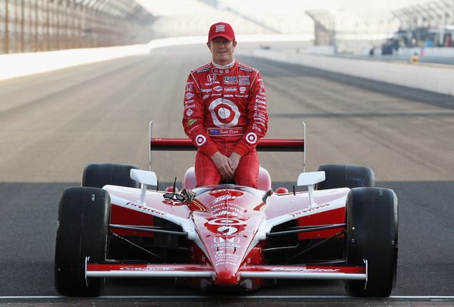INDIANAPOLIS, IN - MAY 22:  Scott Dixon of New Zealand, driver of the #9 Target Chip Ganassi Racing Dallara Honda poses on the finish line with after qualifying on the front row for the Indianapolis 500 on May 22, 2011 at Indianapolis Motor Speedway in In
