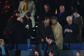 WATFORD, UNITED KINGDOM - FEBRUARY 14:  (L-R) Owner Roman Abramovich arrives with new manager Guus Hiddink and Chairman Bruce Buck watch the the FA Cup sponsored by E.ON 5th Round match between Watford and Chelsea at Vicarage Road on February 14, 2009  in