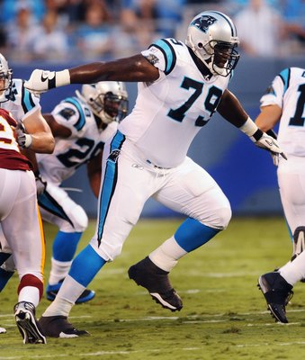 CHARLOTTE, NC - AUGUST 23   Offensive lineman Jeff Otah #79 of the Carolina Panthers gets off the line of scrimmage to make a block during the NFL preseason game against the Washington Redskins at Bank of America Stadium on August, 23, 2008 in Charlotte,