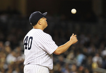 NEW YORK, NY - MAY 13:  Bartolo Colon #40 of the New York Yankees reacts after giving up two runs by the Boston red Sox during their game on May 13, 2011 at Yankee Stadium in the Bronx borough of New York City.  (Photo by Al Bello/Getty Images)