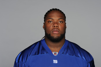 EAST RUTHERFORD, NJ - CIRCA  2010: In this handout image provided by the NFL, Linval Joseph of the New York Giants poses for his 2010 NFL headshot circa 2010 in East Rutherford, New Jersey. (Photo by NFL via Getty Images)