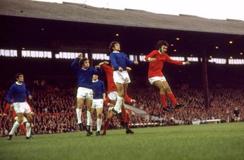 1968:  George Best of Manchester United in action during the Division One match against Everton played at Old Trafford in Manchester, England. \ Mandatory Credit: Allsport UK /Allsport
