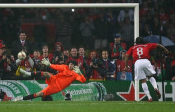 MOSCOW - MAY 21:  Anderson of Manchester United beats Petr Cech of Chelsea as he scores a penalty in the shoot out during the UEFA Champions League Final match between Manchester United and Chelsea at the Luzhniki Stadium on May 21, 2008 in Moscow, Russia