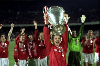 26 May 1999:  Ole Gunnar Solskjaer holds aloft the European Cup after Manchester United win the European Champions League Final against Bayern Munich in the Nou Camp Stadium, Barcelona, Spain. Manchester United won 2 - 1 with Solskjaer scoring the secondg