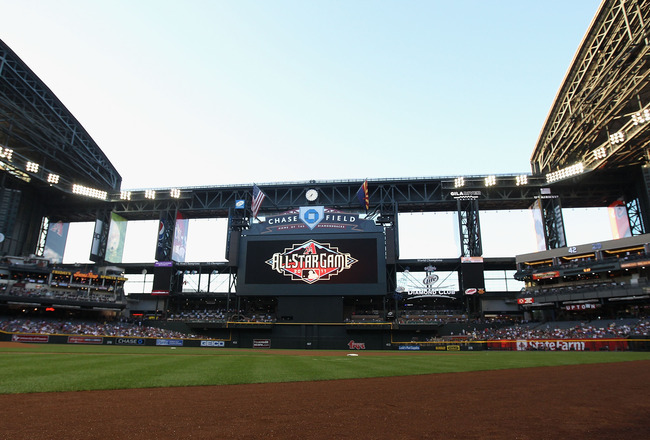 PHOENIX, AZ - APRIL 28:  The All Star Game logo is displayed during the Major League Baseball game between the Chicago Cubs and the Arizona Diamondbacks at Chase Field on April 28, 2011 in Phoenix, Arizona.  The Diamondbacks defeated the Cubs 11-2.  (Phot