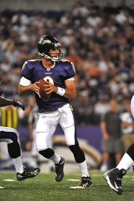 BALTIMORE - AUGUST 28:  Marc Bulger #9 of the Baltimore Ravens passes against the New York Giants in a preseason game at M&T Bank Stadium on August 28, 2010 in Baltimore, Maryland. The Ravens defeated the Giants 24-10. (Photo by Larry French/Getty Images)