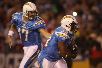 SAN DIEGO, CA - DECEMBER 16:  Quarterback Philip Rivers #17 of the San Diego Chargers hands the ball off to running back Mike Tolbert #35 against the San Francisco 49ers at Qualcomm Stadium on December 16, 2010 in San Diego, California.  (Photo by Donald