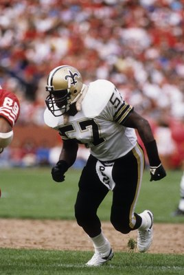 SAN FRANCISCO - SEPTEMBER 29:  Linebacker Rickey Jackson #57 of the New Orleans Saints in action against the San Francisco 49ers during a game at Candlestick Park on September 29, 1985 in San Francisco, California.  The Saints won 20-17.  (Photo by George