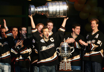 ANAHEIM, CA - JUNE 9:  Scott Niedermayer #27 of the Anaheim Ducks celebrates winning the 2007 Stanley Cup during the 'Anaheim Ducks Stanley Cup Victory Celebration' at Honda Center June 9, 2007 in Anaheim, California.  (Photo by Harry How/Getty Images)