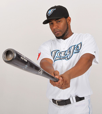 DUNEDIN, FL - FEBRUARY 20:  Edwin Encarnacion #10 of the Toronto Blue Jays poses during photo day at Florida Auto Exchange Stadium on February 20, 2011 in Dunedin, Florida.  (Photo by Nick Laham/Getty Images)