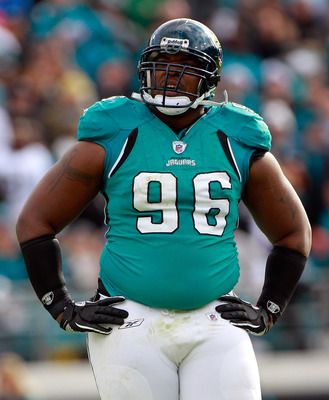 JACKSONVILLE, FL - DECEMBER 12:  Terrance Knighton #96 of the Jacksonville Jaguars looks toward the scoreboard during the game against the Oakland Raiders at EverBank Field on December 12, 2010 in Jacksonville, Florida.  (Photo by Sam Greenwood/Getty Imag