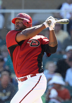 SCOTTSDALE, AZ - MARCH 09:  Wily Mo Pena #16 of the Arizona Diamondbacks bats against the Milwaukee Brewers during the spring training game at Salt River Fields at Talking Stick on March 9, 2011 in Scottsdale, Arizona.  (Photo by Christian Petersen/Getty