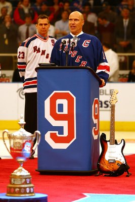 NEW YORK - FEBRUARY 03: Mark Messier speaks during the jersey retirement ceremony for former New York Rangers player Adam Graves #9 prior to the start of the match between the New York Rangers and the Atlanta Thrashers on February 03, 2008 at Madison Squa