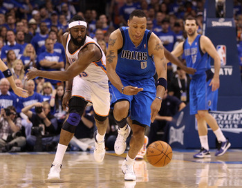 OKLAHOMA CITY, OK - MAY 21:  Shawn Marion #0 of the Dallas Mavericks and James Harden #13 of the Oklahoma City Thunder go after the ball in Game Three of the Western Conference Finals during the 2011 NBA Playoffs at Oklahoma City Arena on May 21, 2011 in