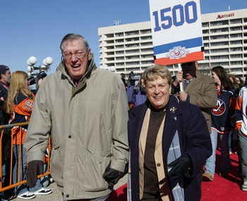 UNIONDALE, NY - MARCH 02:  Coach Al Arbour and his wife Clare of the 'Core of the Four' New York Islanders Stanley Cup victories take part in a ceremony prior to the Islanders game against the Florida Panthers at the Nassau Coliseum March 2, 2008 in Union