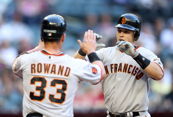 Veteran Aaron Rowand and Rookie Buster Posey