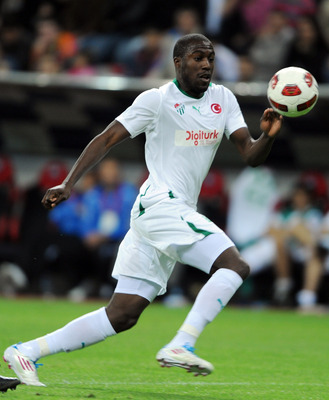 KAYSERI, TURKEY - MAY 01:  Jozy Altidore of Bursaspor in action during the Spor Toto Super League match between Kayserispor and Bursaspor at the Kadir Has Stadium on May 1, 2011 in Kayseri, Turkey. Kayserispor  won the match 1-0. (Photo by Bulent Kilic/Eu
