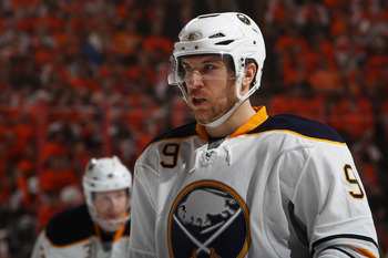 PHILADELPHIA, PA - APRIL 26:  Derek Roy #9 of the Buffalo Sabres looks on in Game Seven of the Eastern Conference Quarterfinals against the Philadelphia Flyers during the 2011 NHL Stanley Cup Playoffs at Wells Fargo Center on April 26, 2011 in Philadelphi