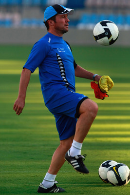 TEL AVIV, ISRAEL - AUGUST 13: Headcoach Lothar Matthaeus of Maccabi Netanya controls a ball at the team training a day ahead of their match against Cherno More, on August 13, 2008 in Tel Aviv, Israel. Matthaeus faces his 2008 UEFA Cup debut as Netanya coa