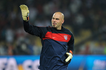RUSTENBURG, SOUTH AFRICA - JUNE 12:  Marcus Hahnemann of the United States waves to supporters prior to the 2010 FIFA World Cup South Africa Group C match between England and USA at the Royal Bafokeng Stadium on June 12, 2010 in Rustenburg, South Africa.