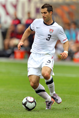 PHILADELPHIA - MAY 29 : Team captain Carlos Bocanegra #3 of the United States handles the ball during a pre-World Cup warm-up match against Turkey at Lincoln Financial Field on May 29, 2010 in Philadelphia, Pennsylvania. (Photo by Hunter Martin/Getty Imag