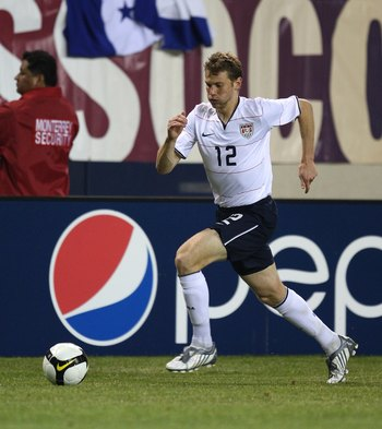 CHICAGO - JUNE 06: Jonathan Spector #12 of the United States chases down the ball against Honduras during a FIFA 2010 World Cup Qualifying match on June 6, 2009 at Soldier Field in Chicago, Illinois. The United States defeated Honduras 2-1. (Photo by Jona