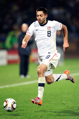 RUSTENBURG, SOUTH AFRICA - JUNE 26:  Clint Dempsey of the United States runs with the ball during the 2010 FIFA World Cup South Africa Round of Sixteen match between USA and Ghana at Royal Bafokeng Stadium on June 26, 2010 in Rustenburg, South Africa.  (P