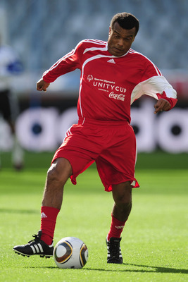 CAPE TOWN, SOUTH AFRICA - JULY 03:  Former Peru International Teofilo Cubillas in action during a Charity Match ahead of the 2010 FIFA World Cup South Africa Quarter Final match between Argentina and Germany at Green Point Stadium on July 3, 2010 in Cape