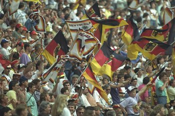 8 Jun 1990:  General view of the West Germany supporters during a World Cup match in Italy. \ Mandatory Credit: Allsport UK /Allsport