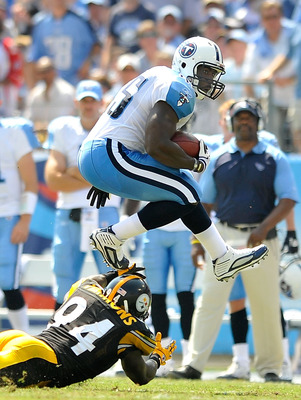NASHVILLE, TN - SEPTEMBER 19:  Ahmard Hall #45 of the Tennessee Titans hurdles Lawrence Timmons #94 of the Pittsburgh Steelers during the first half at LP Field on September 19, 2010 in Nashville, Tennessee.  (Photo by Grant Halverson/Getty Images)