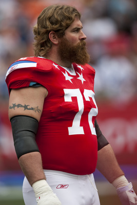 HONOLULU - JANUARY 30:  Matt Light #72 of the New England Patriots stands on the field during the 2011 NFL Pro Bowl at Aloha Stadium on January 30, 2011 in Honolulu, Hawaii.  (Photo by Kent Nishimura/Getty Images)