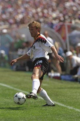 17 Jun 1994:  Andreas Brehme of Germany in action during the World Cup match against Bolivia at Soldier Field in Chicago, USA. Germany won the match 1-0. \ Mandatory Credit: David  Cannon/Allsport