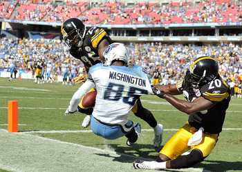 NASHVILLE, TN - SEPTEMBER 19: Bryant McFadden #20 and Ryan Clark #25 of the Pittsburgh Steelers break up a pass in the end zone intended for Nate Washington #85 of the Tennessee Titans late in the fourth quarter at LP Field on September 19, 2010 in Nashvi