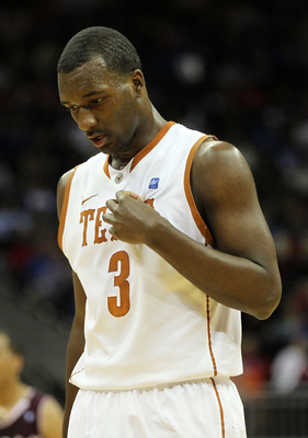 KANSAS CITY, MO - MARCH 11:  Jordan Hamilton #3 of the Texas Longhorns stands on the court during their semifinal game against the Texas A&M Aggies in the 2011 Phillips 66 Big 12 Men's Basketball Tournament at Sprint Center on March 11, 2011 in Kansas Cit